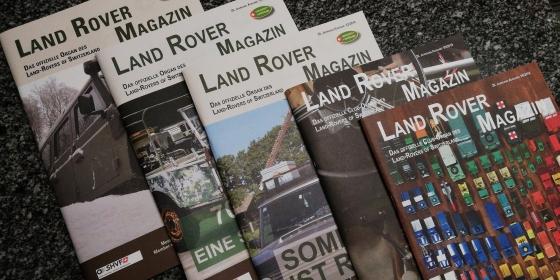 Fünf Magazine des Clubs Landrovers of Switzerland